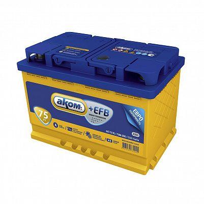 Автомобильный аккумулятор Аком + EFB 75.0 фото 401x401