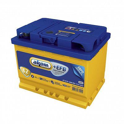 Автомобильный аккумулятор Аком + EFB 62.0 фото 401x401