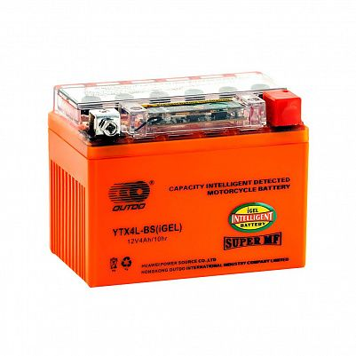 Мото аккумулятор 4Ah OUTDO UTX4L(YTX4L)-BS iGEL фото 401x401