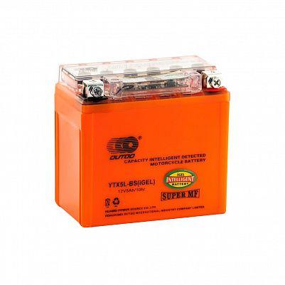 Мото аккумулятор 5Ah OUTDO UTX5L(YTX5L)-BS iGEL фото 401x401